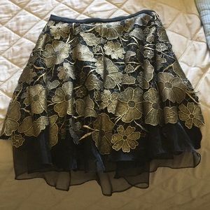 Black and gold lace circle skirt